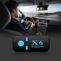 Araba Bluetooth X6 Müzik Alıcısı Adaptörü 3.5mm Jack Kablosuz Handsfree Araç Kiti TF Kart Okuyucu Fonksiyonu Armut beyaz Paketi