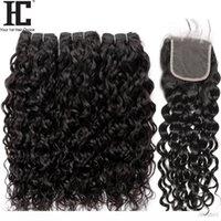 K Brésilien Cheveux Vierge Vague Bundles avec fermeture 4 pièces Lot brésilien Cheveux Weave humides et ondulés Cheveux 3 Bundles avec dentelle Clos