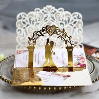 3D بطاقات دعوة الزفاف الليزر الجوف خارج العروس والعريس دعوات الذهب عاكس للمشاركة الزفاف من قبل dhl حار بيع