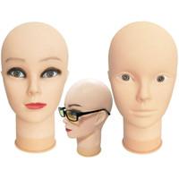OLD STREET Cosmetologia professionale Testa di manichino calvo Testa di bambola modello per trucco Creazione di parrucche con pinze a morsetto