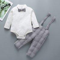 100% хлопка для новорожденных Детская одежда Джентльмен Ромпер техники Дети Мальчик 2 шт Набор Romper + Pant Детская одежда наборы