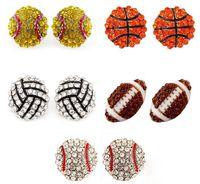 Pendientes Nuevos deportes de baloncesto voleibol de Bling de la bola de Softbol del perno prisionero del Rhinestone cristalino de Bling para los deportes barata de las muchachas al por mayor de