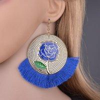 2019 Bohemian Большой кисточкой падение серьги для женщин Lady Женский цветок розы качают себе женщина способа серьги E2869