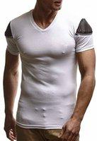 Mens Zipper col en V Slim T-shirt d'été Designer Skinny lambrissé Sport T-shirts Tennagers New Style Hauts de couleur unie
