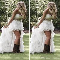 Sexy Land Brautkleider High Low A Line Schatz Pailletten Perlen Organza Rüschen Brautkleider Nach Maß SP025