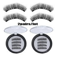 2Pairs lot Easy Wear 3D Magnetic Eyelash False Eyelash 3 Mag...