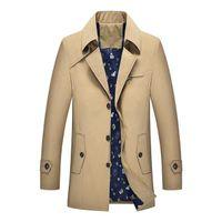 Плюс размер Бизнес Повседневный отворотом тренчкот Мужчины Твердые Длинные рукава Длинные куртки мужские Тонкий Ветровка 5XL 6XL