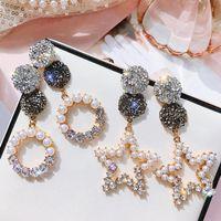 Sterling Silber Nadel Ohrringe Perle Kreis S925 Schmuck rund fünfzackigen Sternen Kristallohrringe für Frauen heiße Art und Weise