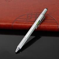 6 em 1 Stylus Office caneta esferográfica multifuncional Novidade Ferramenta chave de fenda Régua Suave Writing presentes de metal
