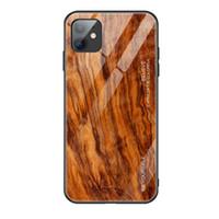 Para iPhone 11 Pro Max Luxo Veio de Madeira Phone Case para iPhone XXs Max macio TPU Borda Magro vidro caso capa Coque Shell