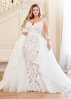 White Lace Mermaid manica lunga con scollo a V abiti da sposa taglie forti staccabile Gonna fermata Wedding Gowns Nigeria Abiti da sposa