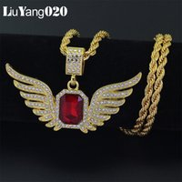 Hip Hop Ice Out Angle Wing Necklace Women Men Bling Bling Fu...