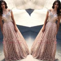 Rose Gold Kapalı Balo Abiye 2019 Pırıltılı A-line Kristal Payetler Örgün Parti Balo Pageant Elbise Custom Made BC1605 Omuz