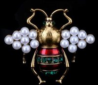 New oil drop animal bee brooch woman alloy pearl small corsa...
