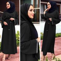 Siyah Kaftan Abaya Türkiye Dubai Müslüman Elbise Jilbab Kaftan Marocain Ramazan Abayas Kadınlar Başörtüsü Elbise Türk İslam Giyim