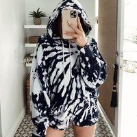 Home Clothing Loose Hooded Tie Dye Female Two Piece Set Summ...