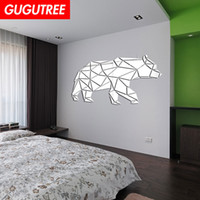 Decorate Home 3D bear cartoon mirror art wall sticker decora...
