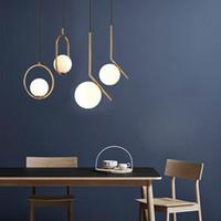 Modern oturma odası avizeler yatak odası minimalist restoran kolye ışık nordic giyim dekorasyon cam top kolye lamba