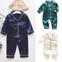 Малыши Детские мальчики с длинным рукавом сплошные вершины + брюки Pajamas Sleewwurs Outfits Набор 2 шт. Одежда Sprig Осень