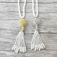 Évider Nid d'oiseau charme zircon forme pave Pendentif CZ Micro, Nacre Perles naturelles Glands Femmes Bijoux Collier NK519