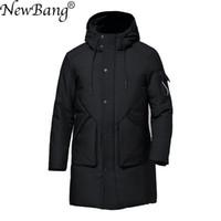 NewBang зима мужская пуховик перо Куртка для человека теплый толстый длинный вниз пальто мужской ветровка водонепроницаемый парки