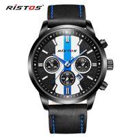 أزياء العلامة التجارية Ristos ساعات الكوارتز الجلود عارضة ساعة اليد ريلوخ ذكر للذكر المتطرفة ديبورتي الرياضة ووتش 93018