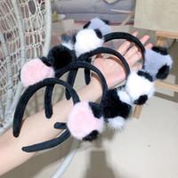 Yeni Kış Stil Yün Kumaş Düz Tasarım Kürk Ponpon Moda Kızlar Bantlar Saç Aksesuarları Hairband Yüksek Kalite