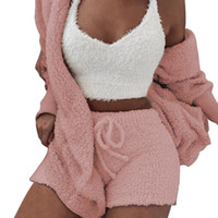 Plush Tracksuit Women 3 Pieces Set Sweatshirts Sweatpants Sw...