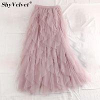 Сладкий трепал нерегулярные Макси длинные тюль юбки Фея-line плиссированные многоуровневая слоистая юбка воланами длинные пачки сетки юбка для взрослых