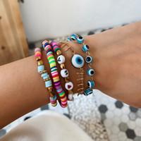 5 PCS / SET VSCO Girl Bead pulsera Bohemia Estilo étnico Mano Mano Ojo Ojo Charm Pulsera Femenino Creativo Cerámica Beads Letra Pulsera Set
