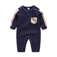 De alta calidad de la ropa del bebé de primavera y verano Manga larga algodón Romper mono del bebé Ropa Ropa para niños de dibujos animados de moda joven Mono Rom