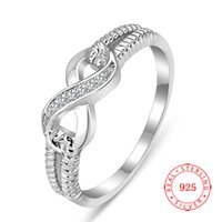 Infini sans fin conception blanc zircon simple 925 sterling argent bague estampée s925 bijoux chinois infini bijouterie usine en gros