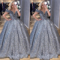 2020 Sparkly Silver Sequin Arabic Ball Gown prom Dresses 3D ...
