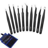 10Pcs / Set ESD Edelstahl-Pinzette-Werkzeug-Set High Precision Tip Curved Gerader antistatische Pinzette Multifunktions Nipper-Reparatur-Werkzeug