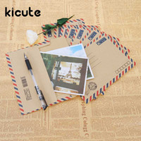 Kicute 8PCS set Mini Retro Airmail Kraft Paper Envelopes Cut...