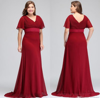Dark Red taglie forti abiti occasione con maniche corte con scollo a V pieghe in chiffon sera convenzionale promenade Madre della Sposa Abiti speciali