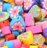 Polymer Fimo argilla del cuore di amore Spacer Beads 20mm incanta il branello allentato del colore misto per la collana fai da te Bracciale i risultati dei monili del bambino che fa il mestiere