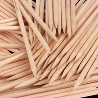 100PCs Wooden Sticks Nail Cuticle Pusher Stick Two Way Orang...