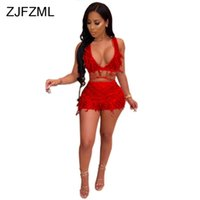 Transparent Mesh Feather Patchwork Sexy Club Two Pieces Set ...