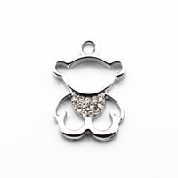 Hot selling 20pcs lot Alloy bear crystal Dangle Charms Lobst...