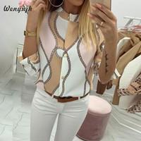Wenyujh 2019 Automne Casual Blouse femme élégante Top Femme O-Neck Shirt de base Chains manches ajustables Imprimer Blouses Bouton