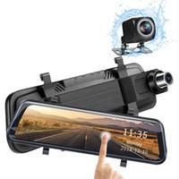 """10 """"يتدفقون كاميرا فيديو مرآة الرؤية الخلفية 2CH سيارة DVR مسجل FOV 170 درجة + 145 درجة كاملة HD 1080P مع 2.5D منحني المضادة للوهج الزجاج"""