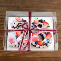 Rectángulo Caja de Pastel Transparente Simple Número de Fiesta de Cumpleaños Caja de Pastel Tamaño Grande Caja de Embalaje de Pastel de Plástico QW9408
