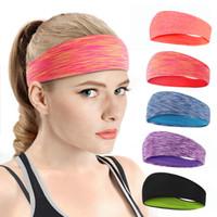 Yoga de cinta absorbente Mujeres banda para el cabello diadema Deportes Hombres anudada cabeza del turbante Warp Cinta de cabeza ancha Yoga Cinta elástica Seguridad en los Deportes