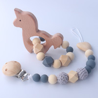 Natural De Madeira De Madeira Bebê Télether Organic Wood Bead Chupeta Clipe Crochet Chattle Rattle Toy Sensory Toy