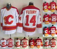 Mens 14 Teoren Fleury Jersey Calgary Flames 25 Joe Nieuwendyk 30 Mike Vernon 39 Doug Gilmour Kırmızı Beyaz Hokey Jereseys
