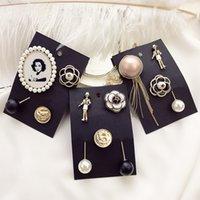 Moda epoca di lusso di bellezza numero badage elegante perla spille di design nappa camelia pin fiore set per signore della donna