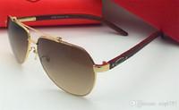 2018 neue modedesigner sonnenbrille metall pilot rahmen holz beine einfache sommer beliebte verkauf stil uv 400 outdoor schutz eyewear