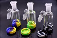 Capteur de cendres en verre de 18 mm avec récipient en silicone pour cendriers en verre pour bongs de forage en pétrole avec base en silicone détachable