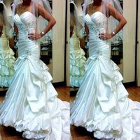 Vintage Mermaid Wedding Dresses Sweetheart Beads Pleats Sequ...